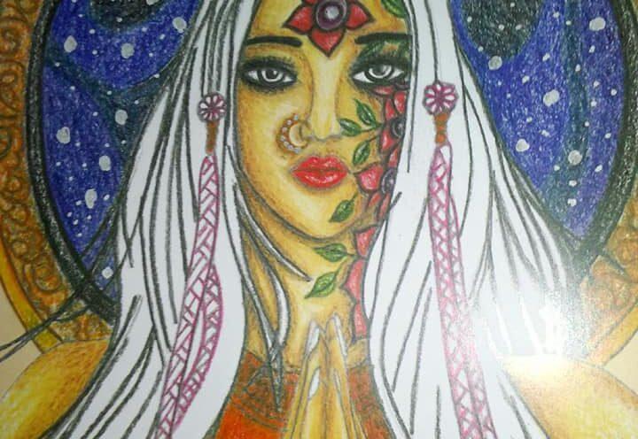 Namaste Girl Art by Sujata Nandy
