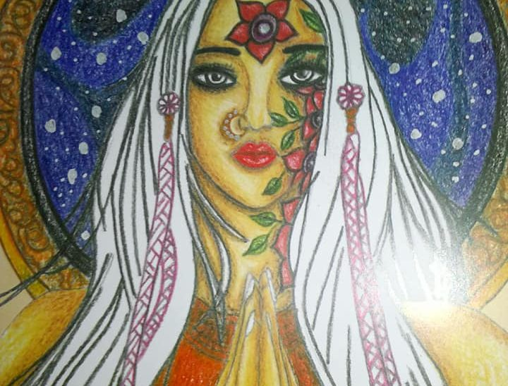 Namaste Girl Art by Sujata Nandy
