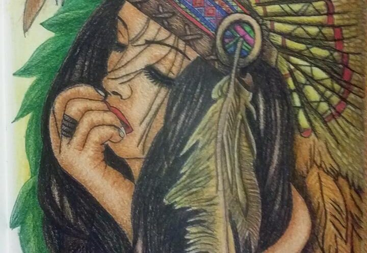 Red Indian Girl Art by Sujata Nandy