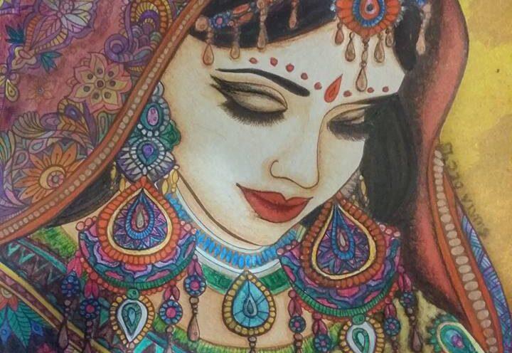 Saree Lady Art by Sujata Nandy